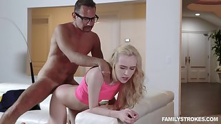 Step daddy deep fucks her tiny pussy then cums on her tits