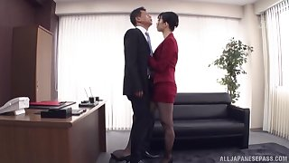 Oiled Kurokawa Sumire spreads her legs for a cock while she moans
