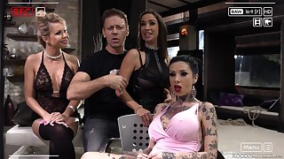 Malena and her slutty inked girls pounded in a group sex session